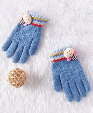 Babyhug Cotton Woolen Gloves Teddy Applique - Blue