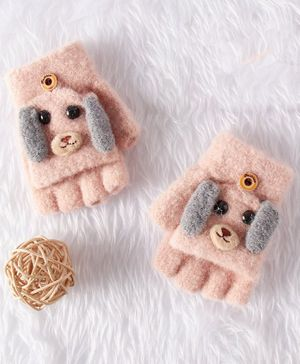 Babyhug Cotton Woolen Gloves Dog Applique - Pink