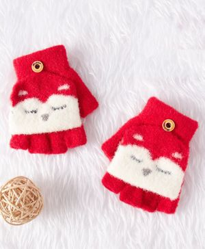 Babyhug Cotton Woolen Gloves - Red