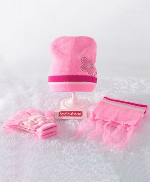 Babyhug Woollen Cap & Gloves With Muffler Floral Embroidery - Pink