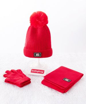 Babyhug Woollen Cap & Gloves With Muffler Pom Pom Detailing Red - Diameter 12 cm