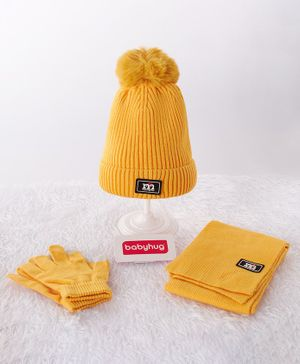 Babyhug Woollen Cap & Gloves With Muffler Pom Pom Detailing Yellow - Diameter 12 cm