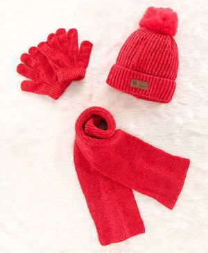 Babyhug Woollen Cap & Gloves With Muffler Pom Pom Detailing Red - Diameter 11.5 cm