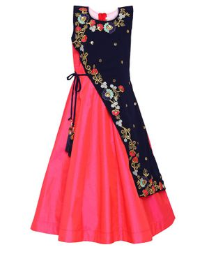 Aarika Sleeveless Flower Embroidered Flared Gown - Pink