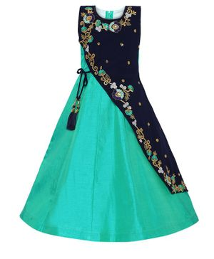 Aarika Sleeveless Flower Embroidered Flared Gown - Sea Green