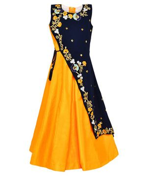 Aarika Sleeveless Flower Embroidered Flared Gown - Yellow