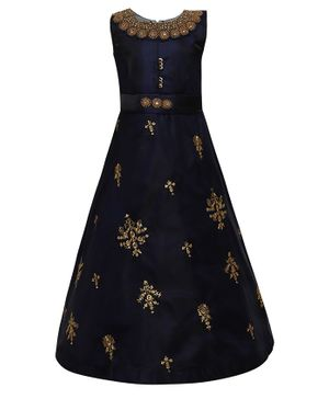 Aarika Sleeveless Flower Embellished Flared Gown  - Navy Blue