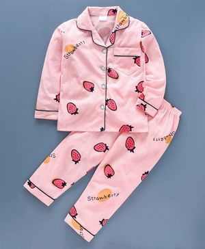 Kookie Kids Full Sleeves Night Suit Strawberry Print - Pink