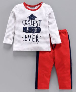 Babyoye Cotton  Full Sleeves Stripe Tee & Lounge Pant Coolest Kid Ever Print - White Orange