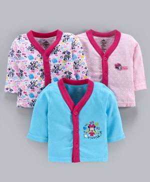 Bodycare Full Sleeves Vest Minnie Mouse Print Pack of 3 - Pink Blue