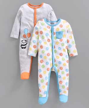 Babyoye Full Sleeves Footed Sleepsuit Pack of 2 - Blue Grey