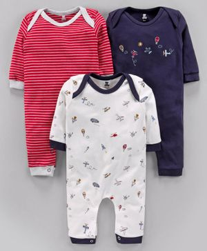 I Bears Full Sleeves Rompers Aeroplane Print Pack of 3 - White Navy Blue Red