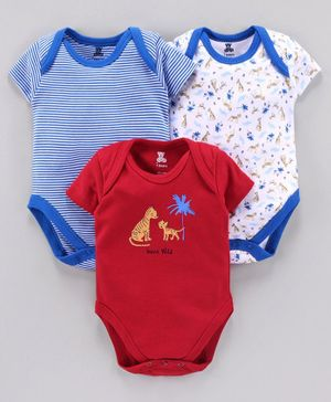 I Bears Short Sleeves Onesies Tiger Print Pack of 3 - Red Blue White