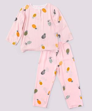 Kookie Kids Full Sleeves Night Suit Pineapple Print - Light Pink