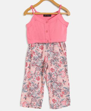 Pspeaches Sleeveless Top With Flower Print Pants - Peach