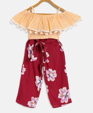 Pspeaches Half Sleeves Top With Flower Print Pants - Red & Peach