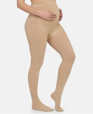 MAMMA PRESTO Elasticated High Waist Maternity Stockings - Beige