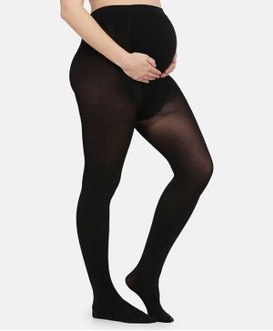 MAMMA PRESTO Elasticated  High Waist Maternity Stockings - Black