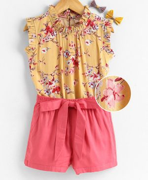 Hugsntugs Sleeveless Floral Print Top With Shorts - Yellow & Pink