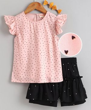Hugsntugs All Over Heart Printed Cap Sleeves Top & Shorts Set - Light Pink & Black