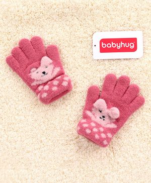 Babyhug Woolen Hand Gloves Animal Design - Light Pink