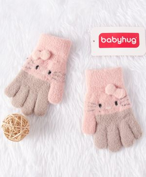 Babyhug Woolen Hand Gloves Bow Applique - Grey