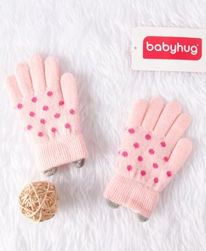 Babyhug Woolen Gloves Polka Dot Design - Pink