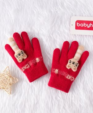 Babyhug Woolen Gloves Animal Design - Red
