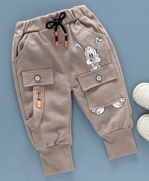 Kookie Kids Full Length Trousers Cartoon Print - Brown