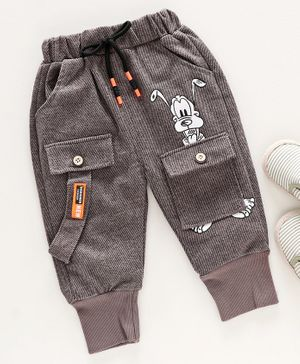 Kookie Kids Full Length Trousers Cartoon Print - Dark Brown
