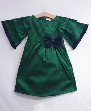 My Pink Closet Half Butterfly Sleeves Sequin Bow Detailing Dress - Green