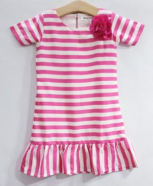 My Pink Closet Half Sleeves Striped Dress - Pink