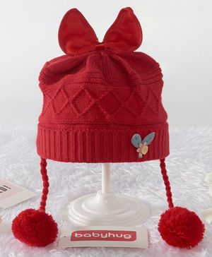 Babyhug Woollen Cap Bow Applique -Red