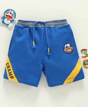 Babyhug Shorts with Drawstring Football Print - Blue