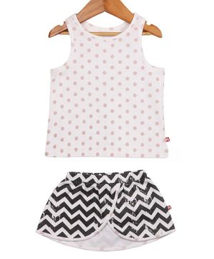 Nino Bambino Sleeveless Polka Dot Printed Top & Skirt Set - White