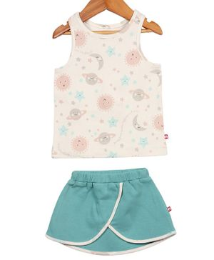 Nino Bambino Sleeveless Sun & Moon Printed Top & Skirt Set - White & Blue