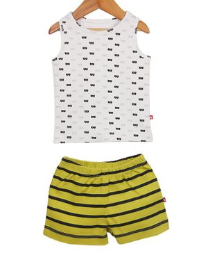 Nino Bambino Sleeveless Tee & Striped Shorts Set - White & Yellow
