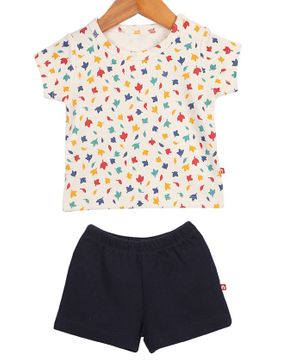 Nino Bambino Short Sleeves Floral Printed T-Shirt & Shorts Set - White & Black