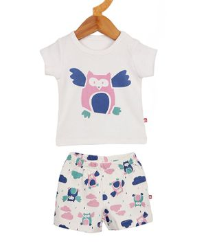 Nino Bambino Short Sleeves Owl Printed T-Shirt & Shorts Set - White