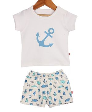 Nino Bambino Short Sleeves Anchor Printed  T-Shirt & Shorts Set - White & Blue