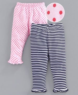 Babyoye Cotton Full Length Printed & Striped Leggings - Pink Navy