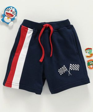 Babyhug Knee Length Shorts Flag Print - Navy Blue