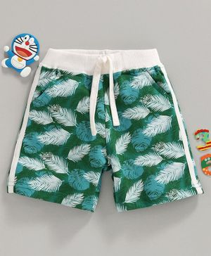 Babyhug Elasticated Waist Shorts Leaf Print - Green