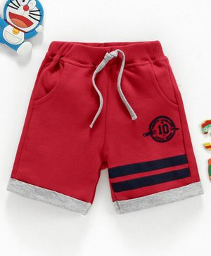 Babyhug Mid Thigh Length Shorts Numeric Print - Red