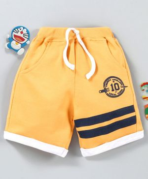 Babyhug Mid Thigh Length Shorts Numeric Print - Yellow