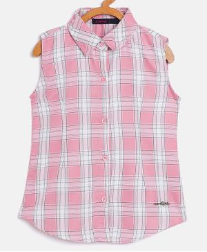 Ziama Sleeveless Checkered Top - Light Pink