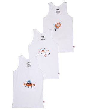 Snhug Sleeveless Pack Of 3 Space Theme Vest - White