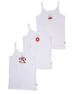 Snhug Pack Of 3 Candy Theme Sleeveless Vest - White
