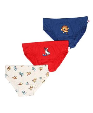 Snhug Pack Of 3 Animal Theme Brief - Cream Red Blue