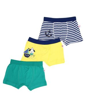 Snhug Pack Of 3 Sailor Theme Trunk - Blue Yellow Green